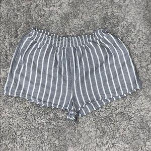 grey and white stripe shorts!